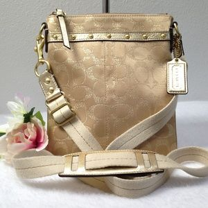 COACH LTD ED Gold Stud Lurex Crossbody - #46841